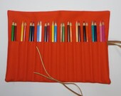READY TO SHIP Canvas 12-24 Artist's Pencil Cozy Case Roll in Pumpkin Orange with Brown Leather Ties