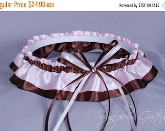 Wedding Garter in Chocolate Brown and Pale Pink Satin with Swarovski Crystal