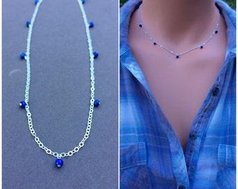 Bella Hadid's blue Lapiz Beaded Necklace,  Blue Beaded Necklace, Bella Hadid Inspired Necklace, Bella Hadid Blue Necklace