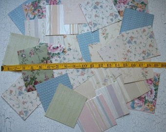 Vintage Shabby Cottage Chic Wallpaper Scraps Pack 29 Pcs. Floral Lot of Wallpaper Scraps Scrapbooking French Chic  Papers FREE SHIPPING