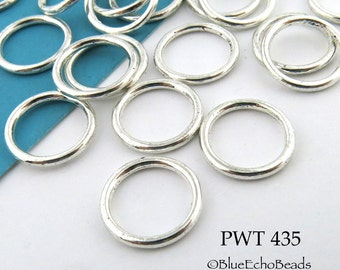 12mm Pewter Jump Ring Connector Closed Large (PWT 435) 22 pcs BlueEchoBeads