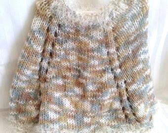 Little Girl Poncho. Knit Poncho. Quarry. Beige. Tan. Gray. White. White Eyelash Yarn. Knit Cape. Girls Poncho. Girls Cape. Hand Knit Cape.