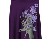 Iris Purple Rayon Knee Length Skirt, Iris Print, Yoga, Floral, Gift for Her