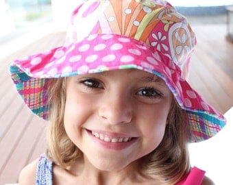 Bucket hat for toddler girls, adorable and unique sun protection hat with flowers and plaid