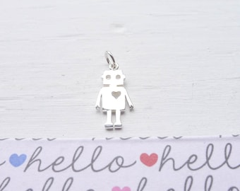 Robot Charm Sterling Silver Robot Pendant (CNA1580)