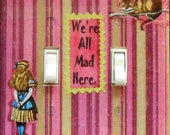 Alice Double Switchplates & Free MATCHING SCREWS- Alice wall plate Wonderland bedroom wall decor Alice bedroom wall decorations pink stripes