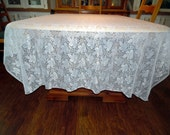 Vintage Lace Overlay Lace Tablecloth 58 X 80 Inches ECS SVFT