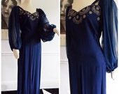 1940s blue beaded gown / 40s hollywood dinner dress/ film noir evening gown/ WWII swing dress