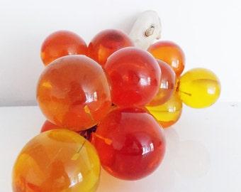 Mid Century orange yellow lucite Grapes/ vintage 1950s 60s cluster acrylic grapes/ 50s grape centerpiec