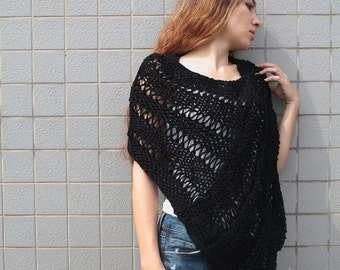 Hand knit little poncho knit scarf knit shrug black woman sweater