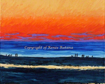 Nautical Wall Art, Original Painting, Mayflower Beach Sunset, Dennis, Cape Cod, 10x10""