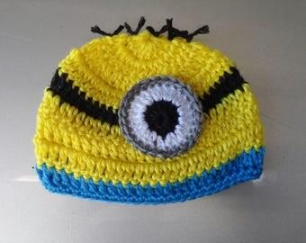 Crochet Baby Boy Minions Hat Beanie Newborn Photo Prop Baby Shower Gift MADE TO ORDER