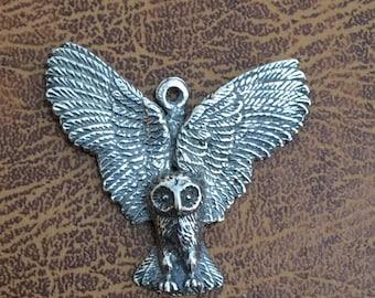 Barn owl in flight. Pendant made with lead free Australian Pewter B90