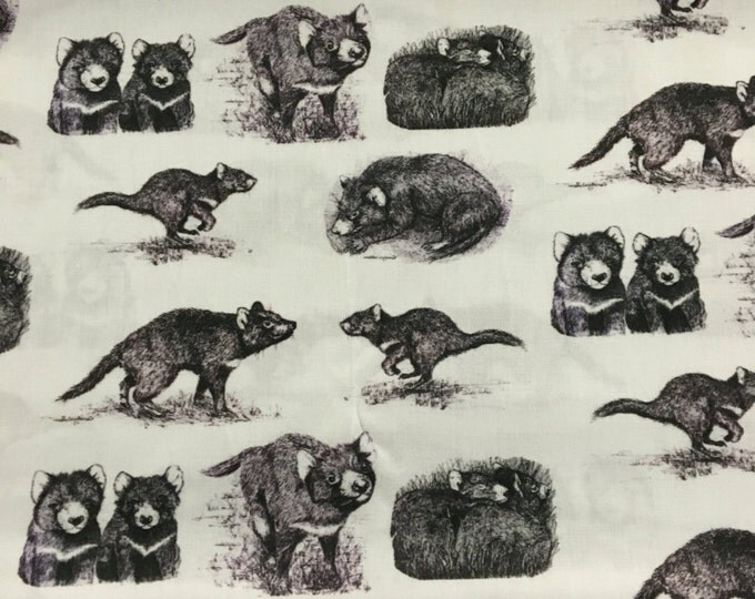 Original black and white Tasmanian Devil Fabric by Cindy Watkins  cotton