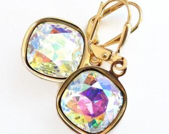 Rainbow square crystal earrings - bridesmaid earrings - bridal earrings - square wedding earrings - Swarovski crystal - iridescent crystal