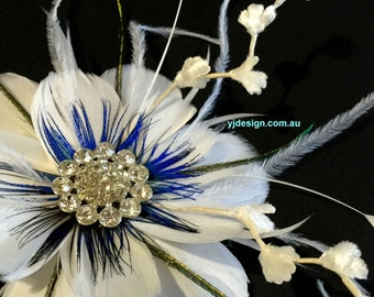 Something Blue Wedding Fascinator, Feather Bridal Hair Clip, Peacock Wedding Headpiece, Flower Fascinator, Bridal Headpiece, ART NIRVANI
