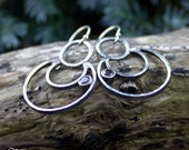 Sterling silver and Garnet rustic moon shaped earrings - From the Crescent of the Moon -