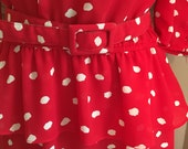 80s Does 40s Ladies Dress Red White Peplum Belted S