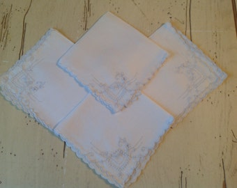 Vintage Linen Napkins White on White Floral Embroidered Set of 4