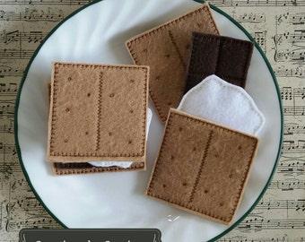 Felt Smores Set - Marshmallows - Pretend Play Food Set – Learning Toy – Toddler Gift – Preschool Toy – Campfire Felt Food –  Bento Play Food