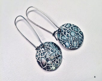 Textured Sterling Silver Disc on Long Sleek Kidney Wires