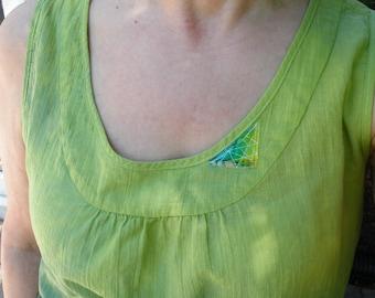Tank top, sleeveless summer cotton tank shirt blouse, hand dyed green, women's size 6 7 8 9 S M small medium i207 Life's an Expedition