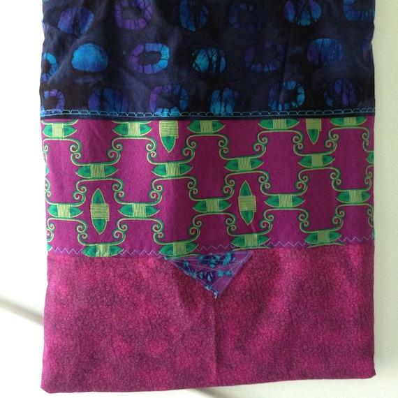 Tote bag, large purse handbag, cotton batik Bohemian Bag gypsy purple navy blue green turquoise metallic gold magenta fiber art Lhasa i667