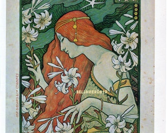 French Poster - L'Ermitage - 1897 Paul Berthon - Journal Cover Lady with Flowers 1968 Reproduction Print 8-1/2 x 12