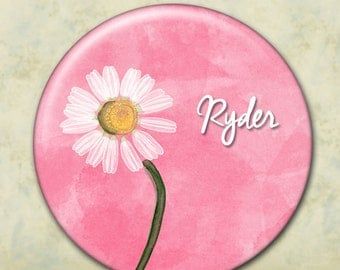 Custom Pocket Mirror, Personalized Bridesmaid Gift, Shower or Wedding Favor, Daisy Flower