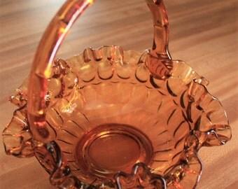 Fenton Crimped Amber Basket