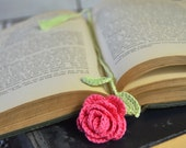 Pink Rose Handmade Crocheted Flower Bookmark