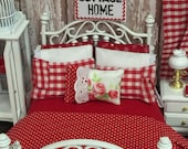 Cottage Red and awhite Bedding and Bed- Miniature Dollhouse 1:12 scale