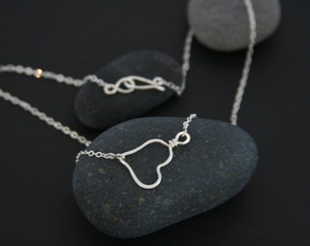 Heart Hoop Necklace Sterling Silver Hammered Handmade Jewelry