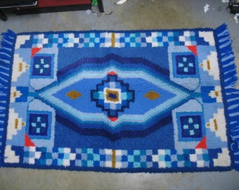 "Vintage Mod Mid Century Hooked Rug Geometrics Abstract Blue White Red Gold Shag carpet 56"" x 33"""