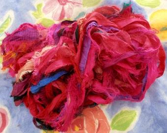 100 grams 1 skein recycled silk   ribbon  knitting crochet craft embellishment yarn dark pinks