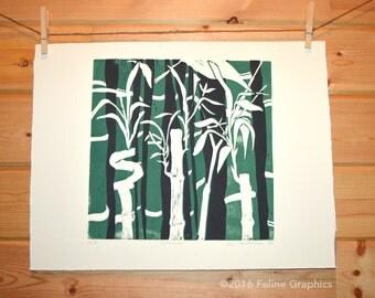 Bamboo 2 Color LInocut Print