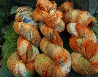 Handpainted sock yarn, fingerling yarn, Superwash Merino Nylon, 100 grams-Autumn Harvest