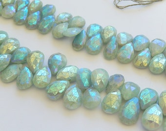 Amazonite Gemstone. Faceted Gemstone Briolette, AB. 13-15mm. Semi Precious Gemstone. Select from Menu (mamx)