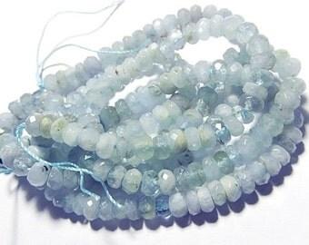 "Aquamarine Gemstone Bead. Faceted Rondelle, Semi Precious Gemstone. 6mm to 6.5mm. Strand - Select 2"" to 15"" Length. (4aq)"