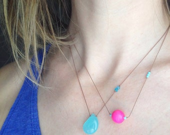 Pink Vintage Gumball Bead Necklace / Everyday Geometric Modern Neon Layering
