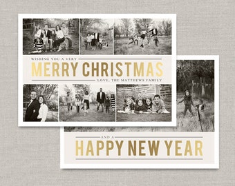 Gold Christmas Collage Card Template #2 for Photoshop: Instant Download