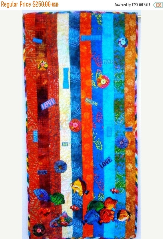 Festival Sale Swimming Upstream, Number 5, 19 x 39 inch art quilt