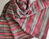 Hand Painted Silk Scarf - Handpainted Scarves Black Gray Grey Charcoal Silver Dark Red Flowers Floral