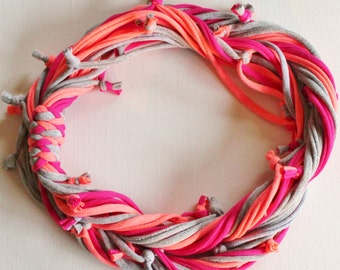 T Shirt Scarf - Infinity Circle Scarves Recycled Cotton - Coral Orange Neon Salmon Dark Pink Magenta Silver Gray Grey Bright Necklace Bright