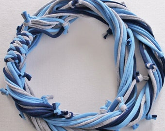 T Shirt Scarf - Infinity Circle Scarves Recycled Cotton - Sky Light Blue Denim Navy Grey Gray Silver Casual Necklace