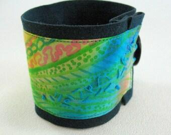 Fabric Cuff Bracelet, Hand Painted Fabric Cuff
