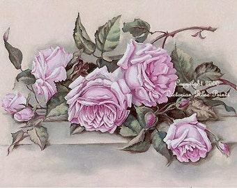 Victorian Pink Cabbage Roses, Art Print, Shabby Chic Decor, Half Yard Long, CP1a