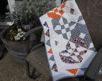 Homemade Quilt, Handmade Quilt, modern quilt, gray, navy, orange, white, Mother's day, soft quilt, throw, lap quilt, afgan, flying geese