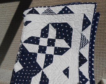 Navy Blue & White Quilt, Home made quilt, Handmade quilt, Throw, Lap Robe, Wall Hanging, Criss Cross Quilt, Flannel Quilt, Nautical quilt