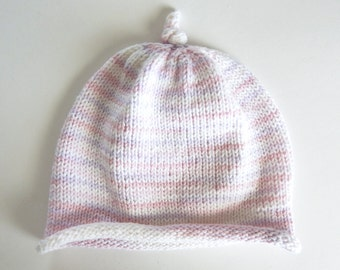 Knit Baby Hat 6 Months - Pastel Variegated